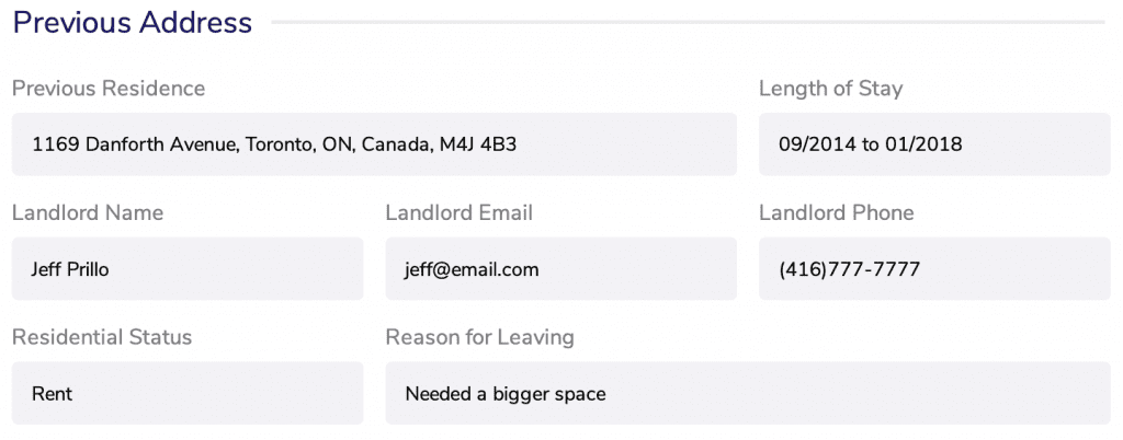 Landlord references form fields